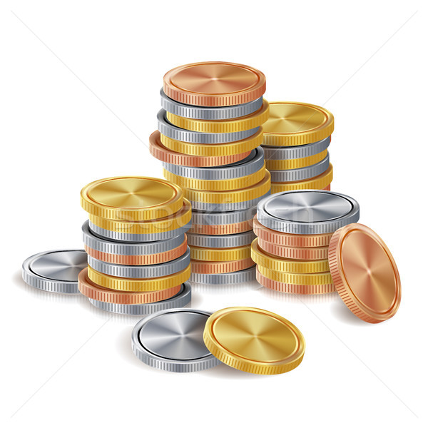 Gold, Silver, Bronze, Copper Coins Stacks Vector. Golden Finance Icons, Sign, Success Banking Cash S Stock photo © pikepicture