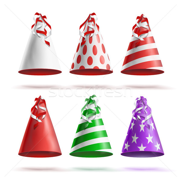 Realistic Party Hat Set Vector. Celebrations Holidays Colorful Festive Caps Isolated Illustration Stock photo © pikepicture