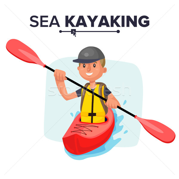 Kayak hombre vector rafting chaleco chaqueta Foto stock © pikepicture