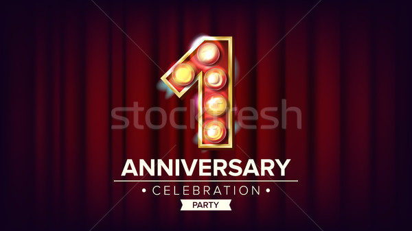 1 Year Anniversary Banner Vector. One, First Celebration. Shining Light Sign Number. For Business Ca Stock photo © pikepicture