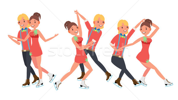 Pair Figure Skating Couple Boy And Girl Vector. Skate Male And Female. Isolated On White Cartoon Cha Stock photo © pikepicture
