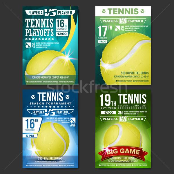 Tennis Poster Set Vector. Design For Sport Bar Promotion. Tennis Ball. Modern Tournament. Sport Even Stock photo © pikepicture