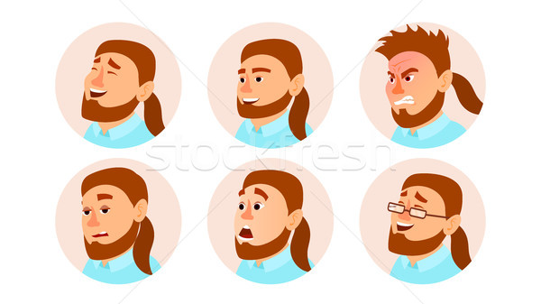 Character Business People Avatar Vector. Fat Bearded Man Face, Emotions Set. Creative Avatar Placeho Stock photo © pikepicture