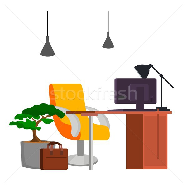 Bureau travail vecteur pc modernes Photo stock © pikepicture
