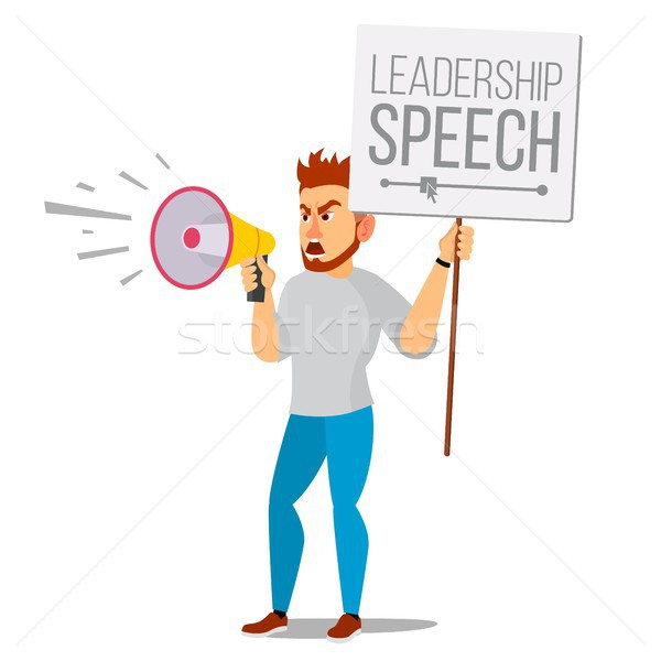 Man Shouting Through Loud Speaker Vector. Leadership Speech. Signs Of Disagreement. Loud Announcemen Stock photo © pikepicture