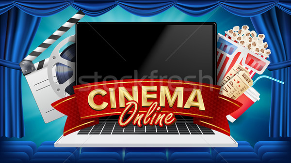 Online Cinema Poster Vector. Modern Laptop Concept. Home Online Cinema. Theater Curtain. Package Ful Stock photo © pikepicture