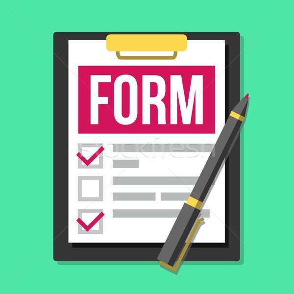 Claim Form Vector. Medical, Office Paperwork. Clipboard. Checklist, Complete Tasks. Pen. To-Do List. Stock photo © pikepicture