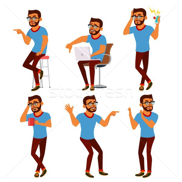 Negativity Expressing Vector. Male Character. Thumbs Down. Choice Concept. Vote Finger. Bad. Skeptic Stock photo © pikepicture