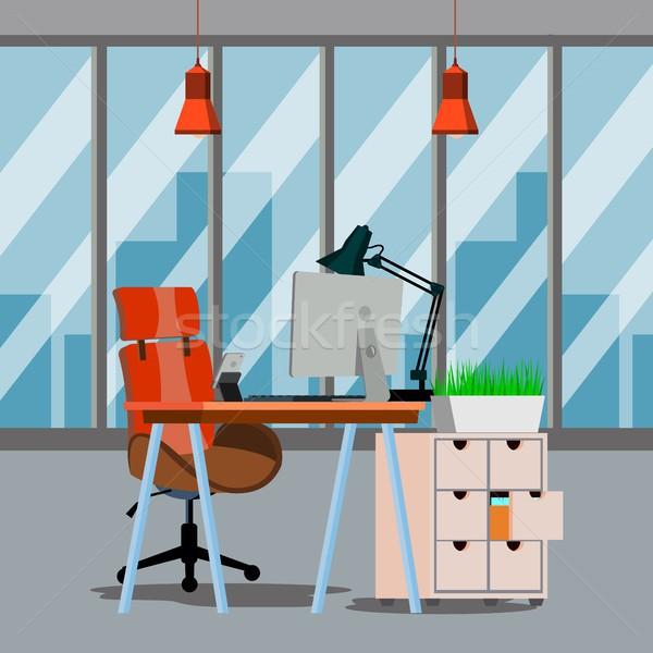 Stok fotoğraf: Ofis · iç · vektör · modern · iş · Çalışma · alanı