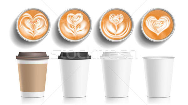Xícaras de café arte topo ver vetor plástico Foto stock © pikepicture