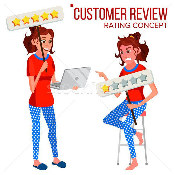 Customer Review Vector. Happy And Unhappy Woman. Review Rating. Testimonials Messages. Store Quality Stock photo © pikepicture