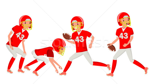 American Football Male Player Vector. Speed Strategy. Football Match Tournament. In Action. Cartoon  Stock photo © pikepicture