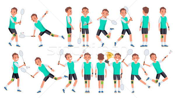 Badminton Player Male Vector. Summer Activity. Championship Training. Isolated Flat Cartoon Characte Stock photo © pikepicture
