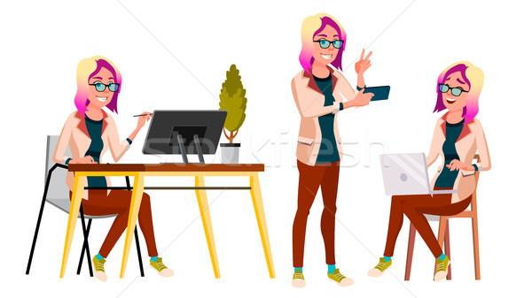 Irodai dolgozó vektor nő modern alkalmazott üzletasszony Stock fotó © pikepicture