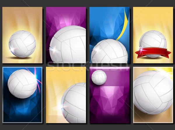 バレーボール ポスター セット ベクトル 空っぽ テンプレート ストックフォト © pikepicture