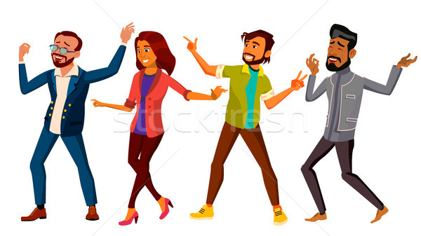 Stock photo: Dancing People Set Vector. Active Woman, Man. Important Event. Isolated Flat Cartoon Illustration