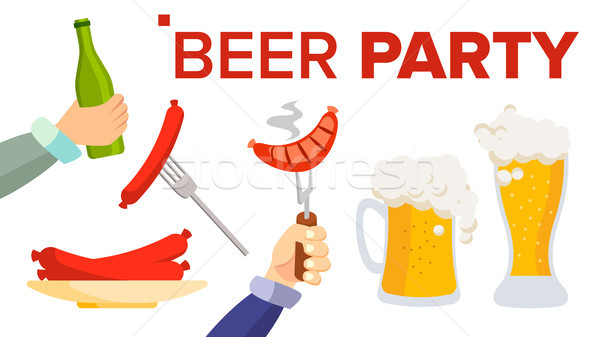 Beer Party Vector. Design Elements. Celebration Festival. cheering People. Beer Bottle, Glass. Isola Stock photo © pikepicture