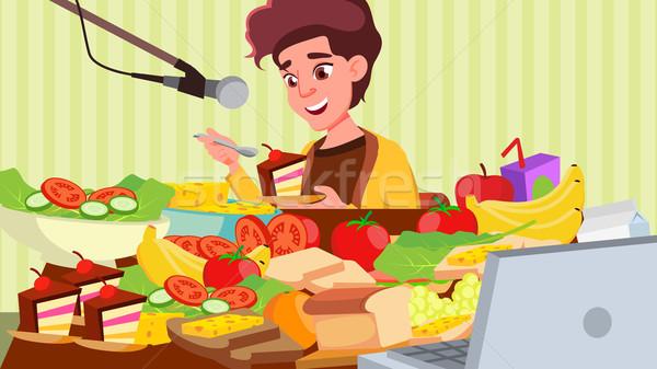 Stockfoto: Eten · show · vector · meisje · koken · voedsel