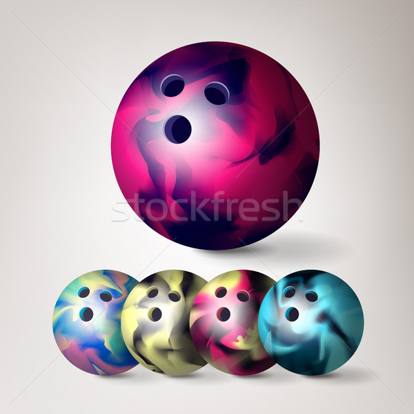 Bowling ball wektora zestaw 3D realistyczny ilustracja Zdjęcia stock © pikepicture