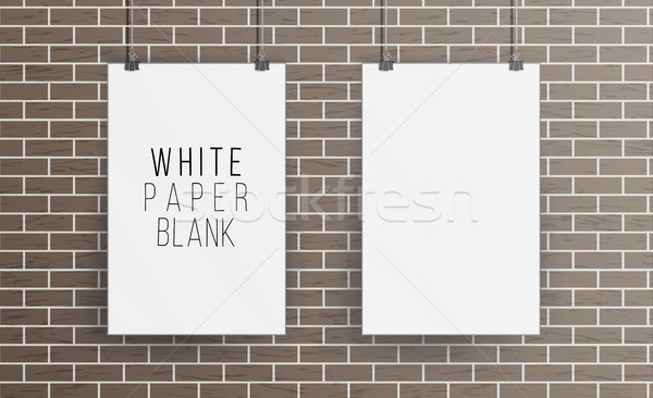 White Blank Paper Wall Poster Mock up Template Vector. Realistic Illustration. Picture Frame On Bric Stock photo © pikepicture