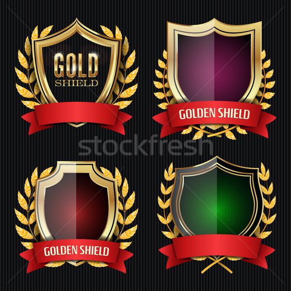 Golden Shield Set With Laurel Wreath And Red Ribbon. Vector Illustration Stock photo © pikepicture