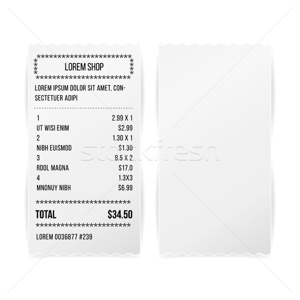 Sales Printed Receipt White Paper Blank Vector. Shop Reciept Or Bill Isolated On White Background. R Stock photo © pikepicture