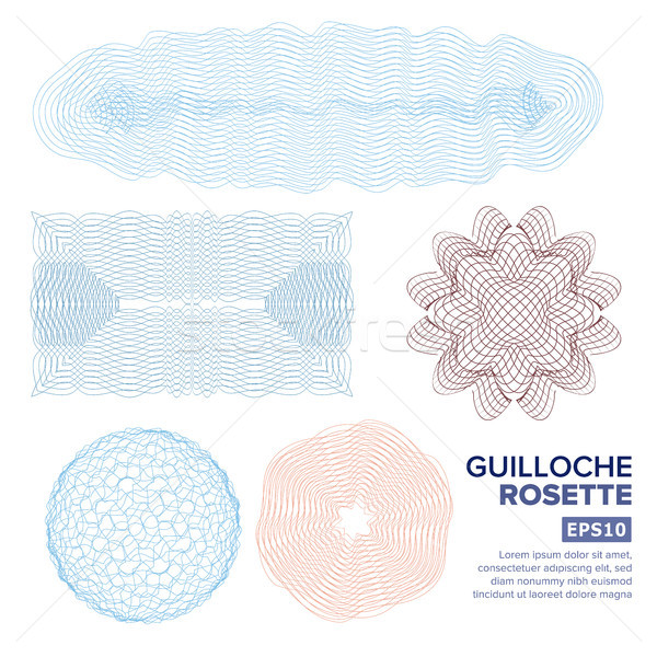 Guilloche Rosette Set Vector. Decorative Abstract Rosette Elements For Diploma, Certificate, Money O Stock photo © pikepicture