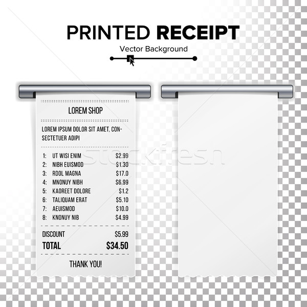 Printed Receipt Vector. Sales Shopping Realistic Paper Bill ATM Mockup. Cafe, Shopping Or Restaurant Stock photo © pikepicture