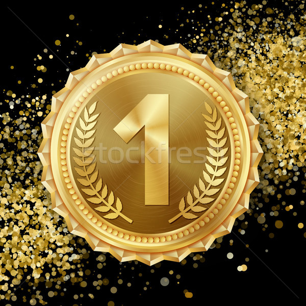 Gold Medal Vector. 1st Place Achievement. Winner, Champion, Number One. Olive Branch. Realistic illu Stock photo © pikepicture