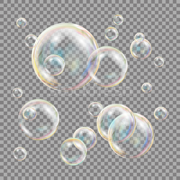 3D bulles de savon transparent vecteur sphère balle Photo stock © pikepicture