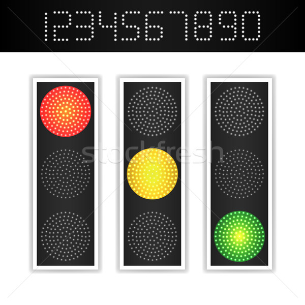 Road Traffic Light Vector. Realistic LED Panel With Time. Sequence Lights Red, Yellow, Green. Go, Wa Stock photo © pikepicture