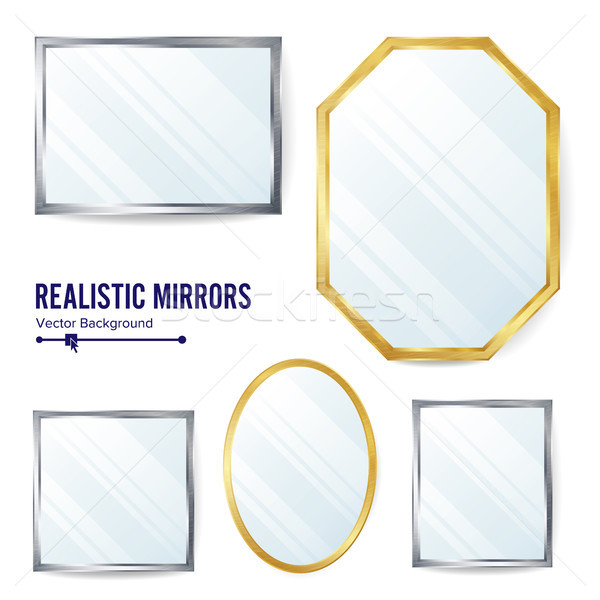 Realistic Mirrors Set Vector. Decoration Mirror With Reflection. Interior Decoration. Metalic Frames Stock photo © pikepicture