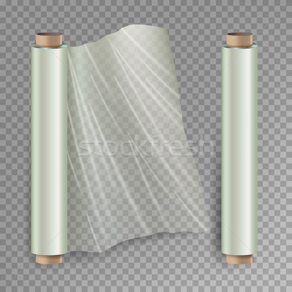 Roll Of Wrapping Stretch Film Vector. Opened And Closed Polymer Packaging. Cellophane, Plastic Wrap. Stock photo © pikepicture