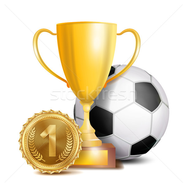Football Award Vector. Sport Banner Background. Ball, Gold Winner Trophy Cup, Golden 1st Place Medal Stock photo © pikepicture