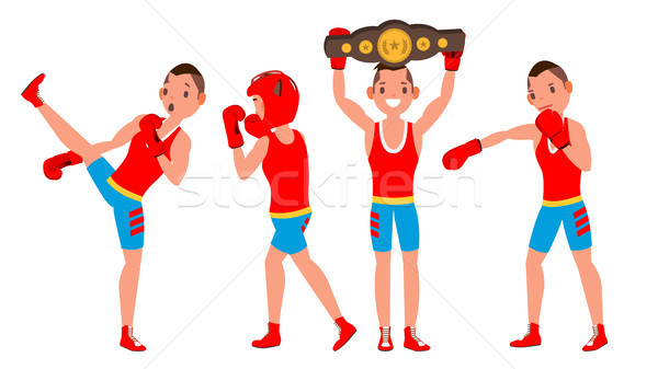 Boxer Sportsman Vector. Player Boxing. Different Poses. Sparring Match. Isolated On White Cartoon Ch Stock photo © pikepicture