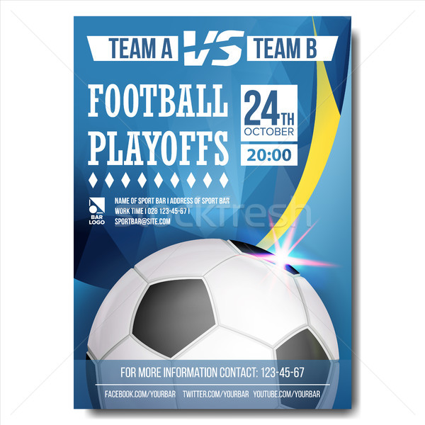 Soccer Poster Vector. Design For Sport Bar Promotion. Football Ball. Modern Tournament. Soccer Leagu Stock photo © pikepicture