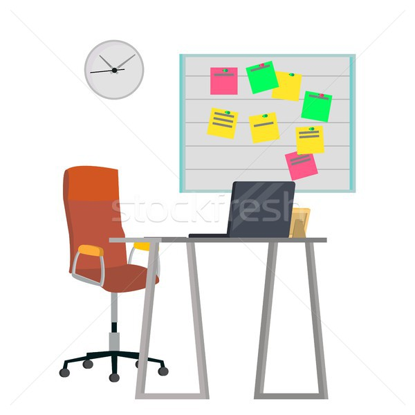 Office Workplace Concept Vector. Furniture Workplace For Programmer, Designer, Salesman. Developer S Stock photo © pikepicture