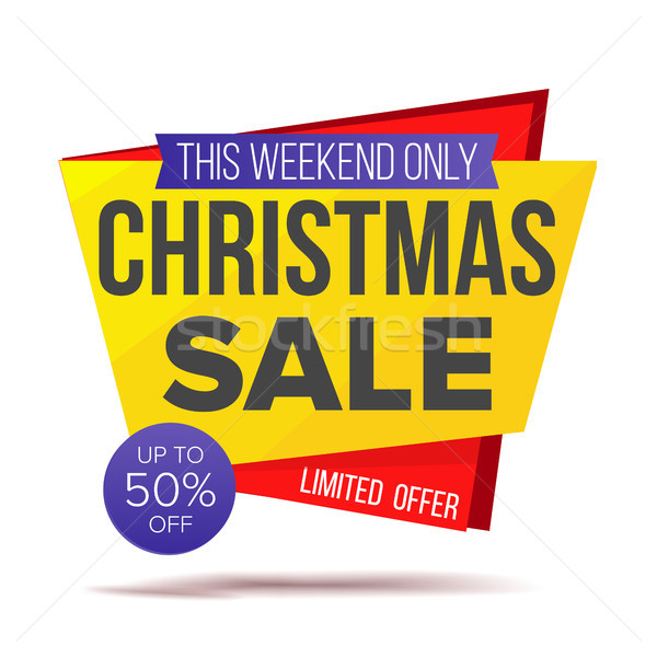 Xmas Special Offer Sale Banner Vector. Holidays Sale Announcement. Isolated On White Illustration Stock photo © pikepicture