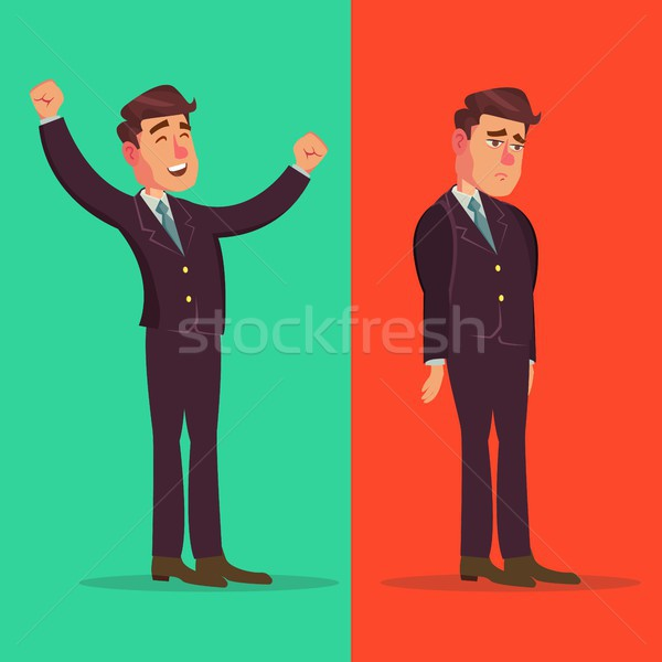 Happy And Unhappy Businessman Vector. Good And Bad. Right And Wrong. Like And Dislike. Isolated Flat Stock photo © pikepicture