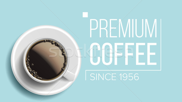 Premium Coffee Background Vector. Blue Backdrop Top View. Realistic White Coffee Mug. Caffeine Hot D Stock photo © pikepicture