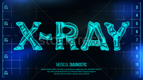 X-ray Banner Vector. Medical Background. Transparent Roentgen X-Ray Text With Bones. Radiology 3D Sc Stock photo © pikepicture