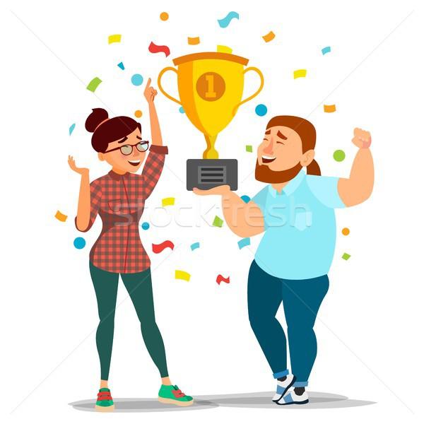 Business Woman And Man Achievement Concept Vector. Best Workers Celebrating Success. Attainment, Com Stock photo © pikepicture