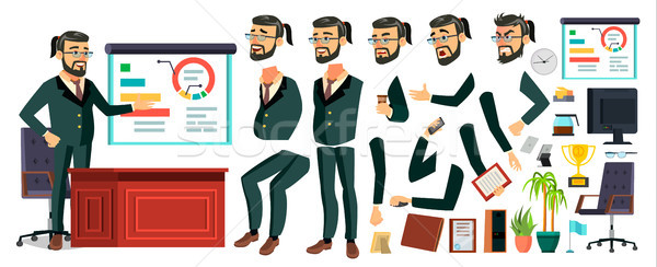 CEO Business Man Character Vector. Working Bearded CEO Male. Modern Office Workplace. Chief Executiv Stock photo © pikepicture