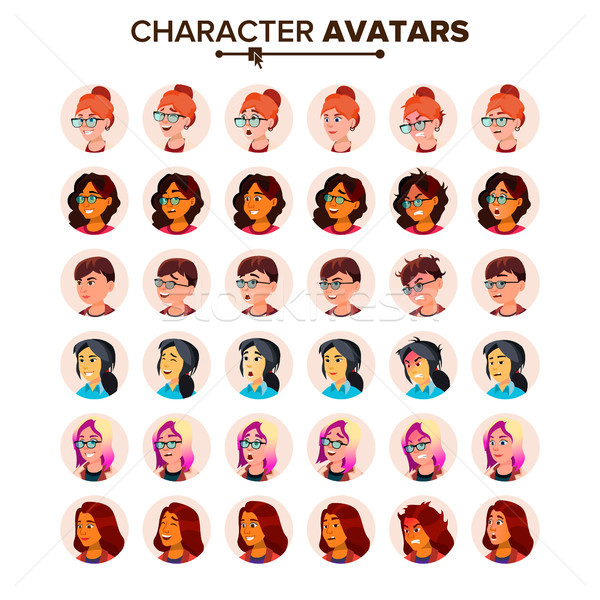 Stock photo: Avatar Icon Woman Vector. Default Placeholder. Colored Member. Cartoon Character Illustration