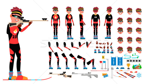 Biathlon Player Male Vector. Animated Character Creation Set. Man Full Length, Front, Side, Back Vie Stock photo © pikepicture