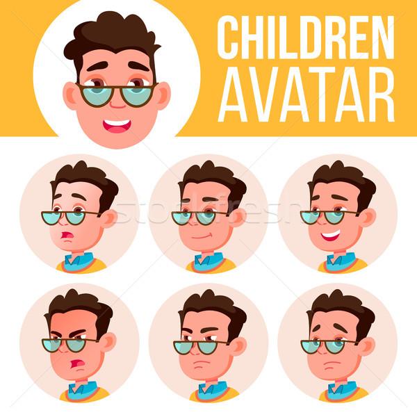 Boy Avatar Set Kid Vector. High School. Face Emotions. Facial, People. Active, Joy. Cartoon Head Ill Stock photo © pikepicture