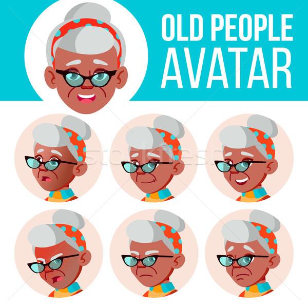 Old Woman Avatar Set Vector. Black. Afro American. Face Emotions. Senior Person Portrait. Elderly Pe Stock photo © pikepicture