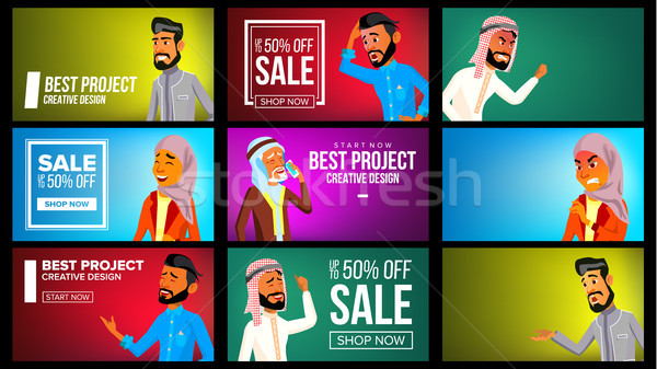 Arab Man, Woman Banner Set Vector. Arab Business Man, Woman. Traditional National Costume. For Web,  Stock photo © pikepicture