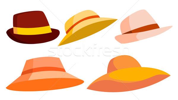 Retro şapka ayarlamak vektör kahverengi klasik Stok fotoğraf © pikepicture