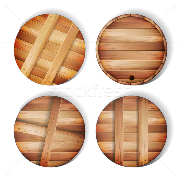 Barrel Wooden Sign Vector Stock photo © pikepicture